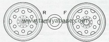 Tamiya BLACKFOOT WHEELS (FRONT AND REAR, 1 PAIR) 0445072