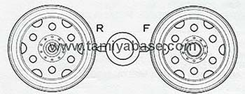 Tamiya BLACKFOOT WHEELS (FRONT AND REAR, 1 PAIR) 10445072